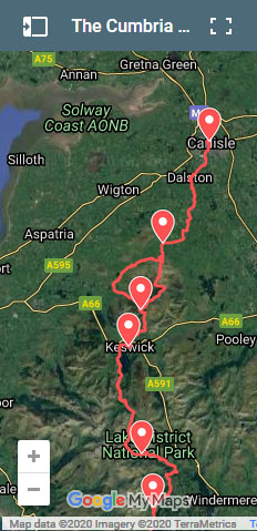 Click map to load full page version of Cumbria Way route map